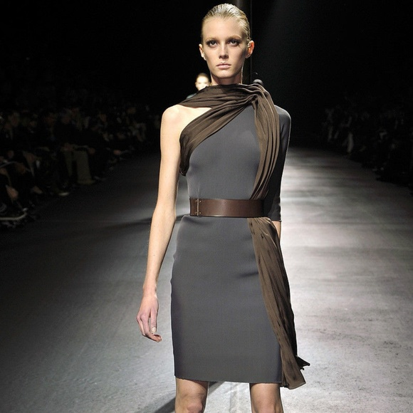 Lanvin Dresses & Skirts - LANVIN Runway Stretchy Gray Silk Top Detail Dress